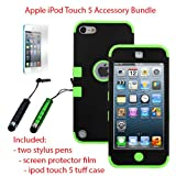 MINITURTLE, Premium Sleek Dual Layer 2 in 1 Hybrid Protective TUFF Case Cover, Two Mini Stylus Pen, and Screen Protector Film for Apple iPod Touch 5 5th Generation (Black / Green)