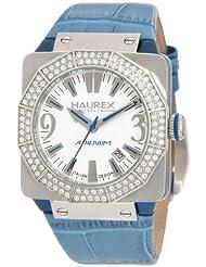 Haurex Italy Women's 8S372DWB Athenum Swarovski Crystal Aluminum Aqua Blue Leather Watch