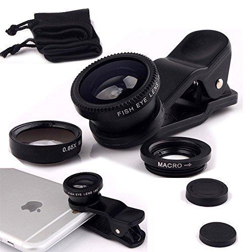 AFAITH Obiettivo di macchina fotografica, Breett universale staccabile 180 ° Fish-eye grandangolare + obiettivo + Micro Lens Camera Kit Lens per iPhone 6 6s 6 Plus 5 5c 5s, iPad, Samsung GalaxyS4 S5 S6 s6 edge S7 S7 edge, Note 3 4, Sony, HTC