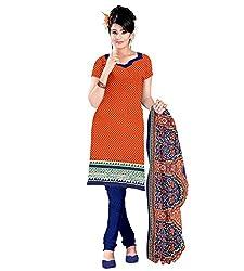 The Ethnic Chic Orange Colored Cotton Suit