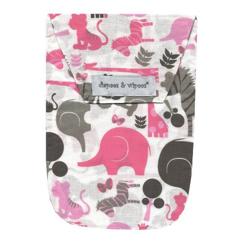 Diapees & Wipees Safari Pink Baby Diaper and Wipes Bag