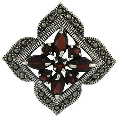 Sterling Silver Marcasite Clover Brooch Pin w/ Round & Marquise Cut Garnet Stones, 1 1/2 in. (38mm) tall
