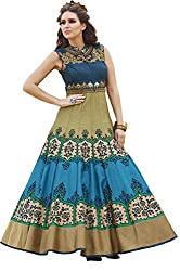 Stylish Fashion Amazing Blue and Beige Floor Length Gown With Exclusive Neck