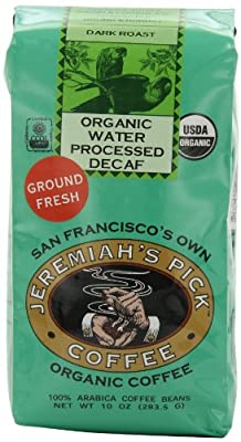 Jeremiah's Pick Coffee Organic Water Processed Dark Roast Decaf Ground Coffee, 10-Ounce Bags (Pack of 3) from Jeremiah's Pick Coffee