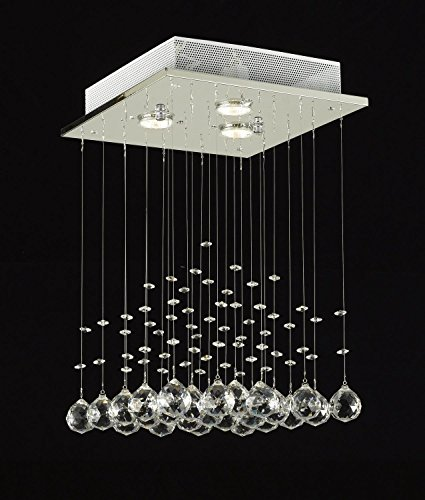 Saint Mossi Crystal Rain Drop Chandelier Modern & Contemporary Ceiling Pendant Light 3 GU10 Bulbs Required H18