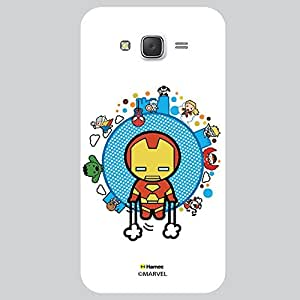 Hamee Original Marvel Character Licensed Designer Cover Slim Fit Plastic Hard Back Case for Samsung Galaxy On5 / On 5 (kawaii iron man with other superheroes white cover)