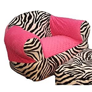 Hot Pink Zebra Overstuffed Chair from Ozark Mountain Kids