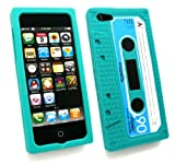 Emartbuy® Apple Iphone 5 5S LCD Screen Protector And Retro Cassette Silicon Skin Cover/Case Green