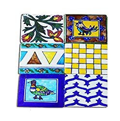 Stop Here Set of 6 Tea Coaster In jaipur Blue Pottery- Square Shape(3 Inches,Blue)