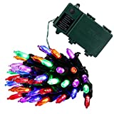 Qedertek Christmas Battery String Lights 50 LED 13.1ft with 8 Modes Lighting for Indoor, Outdoor, Home, House, Path, Patio, Xmas Tree, Party, Fairy Garden, Holiday, Waterproof (multi color)