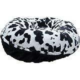 BESSIE AND BARNIE 36-Inch Bagel Bed For Pets, Medium, Black Puma