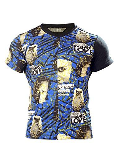 Desigual -  T-shirt - Maniche corte  - Uomo Blue - Blau-bunt bedruckt Small