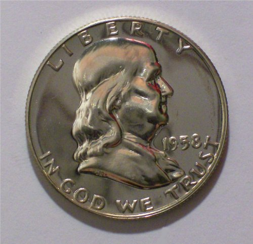 1958 Franklin Silver Proof Half Dollar PR-01 US Mint