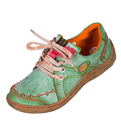 TMA EYES 1646 Halbschuh Gr.36-42 mit bequemen perforiertem Fußbett , Leder , Antikoptik ATMUNGSAKTIV in Antikschwarz und Antikgrün (36, Antikgrün)