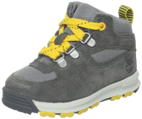 Timberland Earthkeepers Gt Scramble Mid Leather And Fabric Boot (Toddler/Little Kid/Big Kid),Grey/Yellow,5 M Us Big Kid front-1011258
