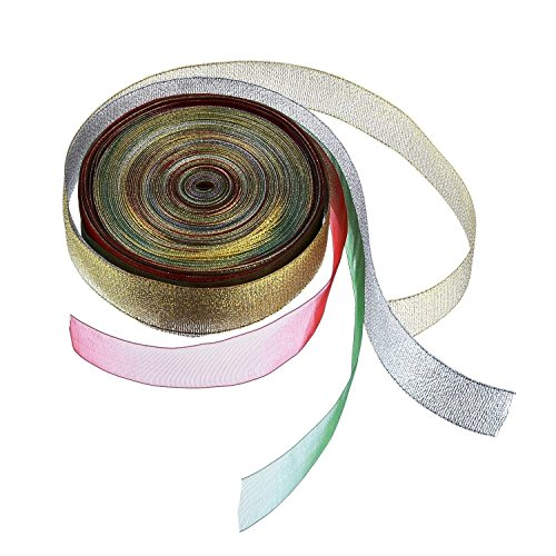 Sale!! Outus Shimmer Organza Ribbon Wired Sheer Glitter Ribbon 1 Inch by 33 Feet, Multicolor