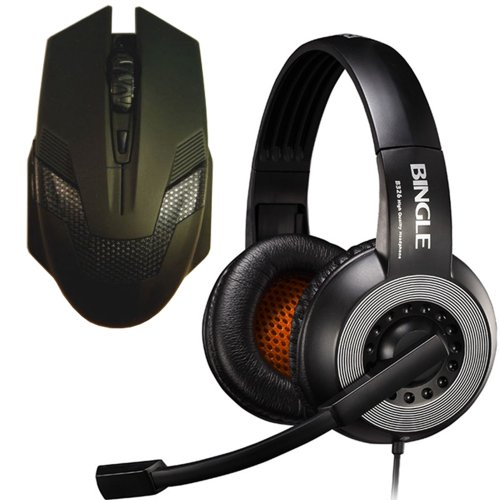 Bingle® B326E Stereo Pc Notebook Pro Gaming Headset + A-Jazz® 2000Dpi Green Hornet Wired Gaming Mouse Led (Black) Bundles Gaming Set