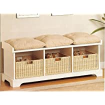 White Coaster Storage Bench with Baskets and Cushions