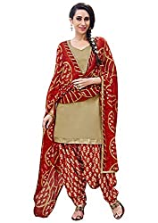 Rudra Textile Women's Beige Cotton Punjabi Suit