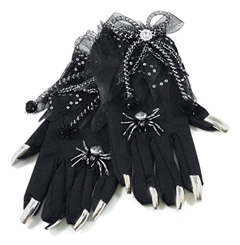 Spooky Witch Spider Gloves with Nails Black Halloween Costume Accessory (Halloween Witch Nails)