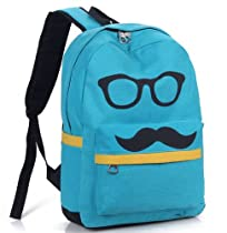Promithi Women Girls Cute Canvas Bag Mustache Glasses Schoolbag Shoulder Backpack (blue)