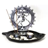 8 Natraj Statue With Incense Burner And Votive T-light Candle Holder And Altar Tray