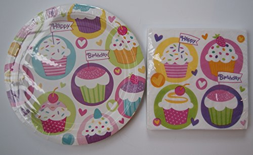 Party Impressions Cupcake Girls Birthday Party Supply Kit - Plates and Napkins
