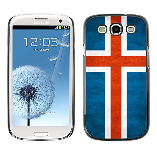 Omega Case Strong & Slim Polycarbonate Cover - Samsung Galaxy S3 Iii I9300 ( Iceland Grunge Flag )