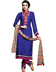 Saree dotcom Women's Chanderi Dress Material (Blue)