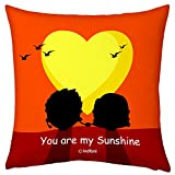 Valentine Gifts for Boyfriend Girlfriend Orange 12X12 Printed Filled Cushion You are My Sunshine Gift for Him Her Fiance Spouse Husband Wife Birthday Anniversary Everyday