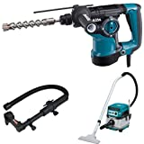 Makita HR2811F 1-1/8-Inch Rotary Hammer, accepts SDS-PLUS bits, 193472-7 Dust Extraction Attachment, SDS-PLUS, Drilling, & XCV07ZX 18V X2 LXT (36V) Brushless 2.1 Gallon HEPA Filter Dry Dust Extractor