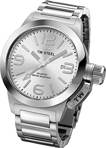 TW Steel Watches promotional discount: TW Steel Canteen Silver Dial Stainless Steel Mens Watch TW304
