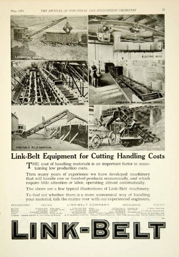 1922 Ad Link-Belt Locomotive Crane Electric Hoist Conveyer Industrial Machinery - Original Print Ad