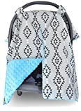 Premium Carseat Canopy Cover and Nursing Cover- Large Aztec Pattern w/ Blue Minky | Best Infant Car Seat Canopy, Boy or Girl | Cool/ Warm Weather Car Seat Cover | Baby Shower Gift 4 Breastfeeding Moms