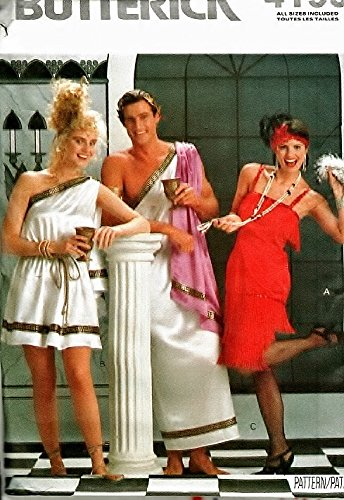 [Butterick 4199 Sewing Pattern Misses / Mens Costumes Greek Toga & Flapper Size 8-18] (Toga Costumes Patterns)