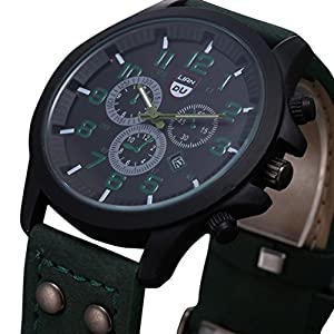 Dreaman Mens Waterproof Date Leather Strap Sport Quartz Army Watch Green