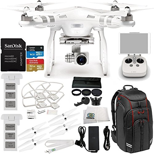 DJI Phantom 3 Advanced Drone w/ 1080p HD Camera & Manufacturer Accessories + DJI Flight Battery + Manfrotto MB BP-D1 Video Equipment Backpack + 7PC Filter Kit (UV-CPL-ND2 400-Hood-Stabilizer) + MORE