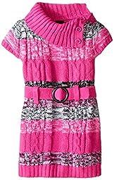 Girls Rule Little Girls\' Marled Striped Sweater Dress, Pink, 6