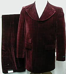 New Mens Burgundy (Maroon) Velvet Single Breasted 4 (4) Button Dress Suit