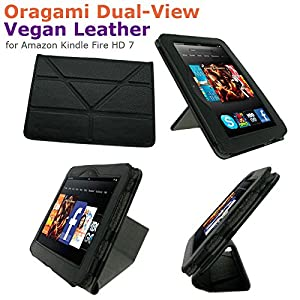 """rooCASE Origami Dual-View Case (Black) for 2012 Kindle Fire HD 7"""" [Previous Generation]"""