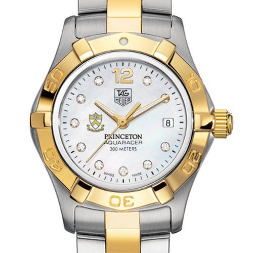 TAG HEUER watch:Princeton University TAG Heuer Watch - Women's Two-Tone Aquaracer with Diamond Dial at M.LaHart Images