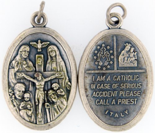 Four Way Cross with Antique Finish I Am a Catholic. Please Call a Priest 20″ Steel Chain