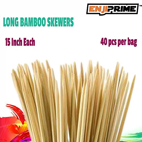 Sale!! Enji Prime Best Marshmallow Roasting Sticks With 40 bamboo barbecue shrimp bbq kabob shish ke...