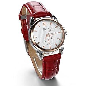 JewelryWe 2pcs Birthday Gift Fashion Leather Strap Quartz Wrist Watches for Girls Lady Women