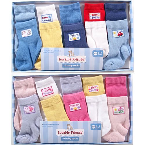 10-Piece Baby Socks Gift Set - Buy 10-Piece Baby Socks Gift Set - Purchase 10-Piece Baby Socks Gift Set (Luvable Friends, Luvable Friends Apparel, Luvable Friends Toddler Girls Apparel, Apparel, Departments, Kids & Baby, Infants & Toddlers, Girls, Underwear & Socks)