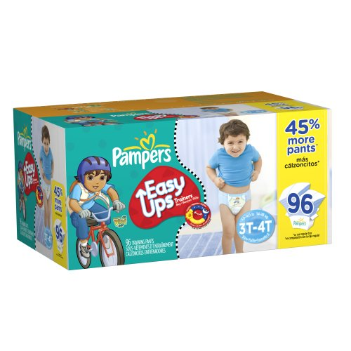 Pampers Easy Ups Trainers for Boys Value Pack, Size 3T/4T, 96 Count