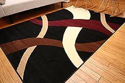 Generations pre8009black_8x11 Brand New Contemporary Modern Wavy Circles Area Rug, 8\' x 10\', Black