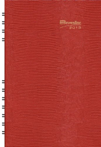 Brownline 2013 CoilPro Daily Planner, Red, 8 x 5 Inches, Hard Cover with Twin-Wire Binding (CB634C.RED-13)