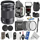 Sigma 18-300mm f 3.5-6.3 DC Macro OS HSM (C) Contemporary Lens for CANON DSLR Cameras w Complete Flash - Photo and Travel Bundle