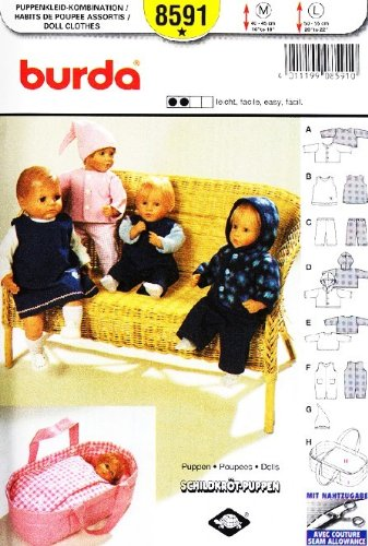 """Burda 8591 Doll Clothes Sewing Pattern ~ Baby Doll Clothes (Doll Size M 16""""-18"""" Or L 20""""-22"""") + Carrier front-328741"""